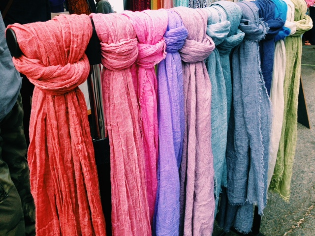 Gorgeous scarves for sale today at the Hoboken Arts and Music Festival