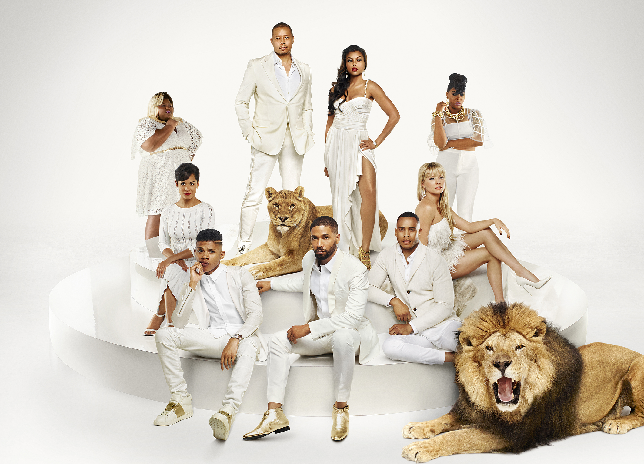 EMPIRE: Cast Pictured L-R: (Bottom Row) Bryshere Gray as Hakeem Lyon, Jussie Smollett as Jamal Lyon, Trai Byers as Andre Lyon (Middle Row) Grace Gealey as Anika, Kaitlin Doubleday as Rhonda Lyon (Back Row) Gabourey Sidibe as Becky, Terrence Howard as Lucious Lyon, Taraji P. Henson as Cookie Lyon and Ta'Rhonda Jones as Porsha on EMPIRE ©2015 Fox Broadcasting Co. Cr: James Dimmock/FOX.