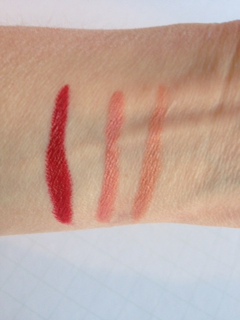 Charlotte Tilbury K.I.S.S.I.N.G. lipstick: So Marilyn (l); Bitch Perfect (c); Penelope Pink (r)