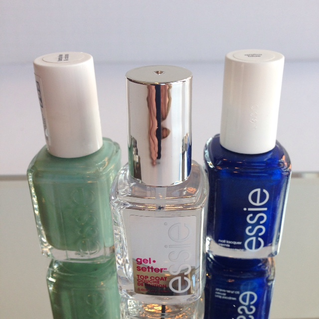 Essie Gel Setter and polish in Turquoise and Caicos (l) and Aruba Blue (r)