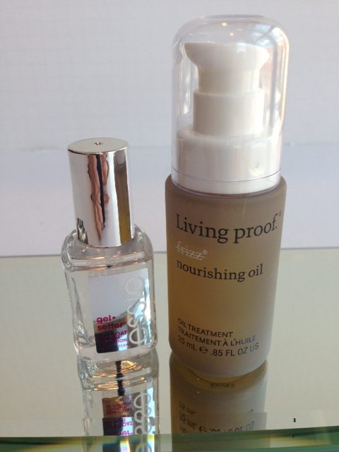 Late summer faves: Essie Gel Setter top coat and Living Proof No Frizz Nourishing Oil
