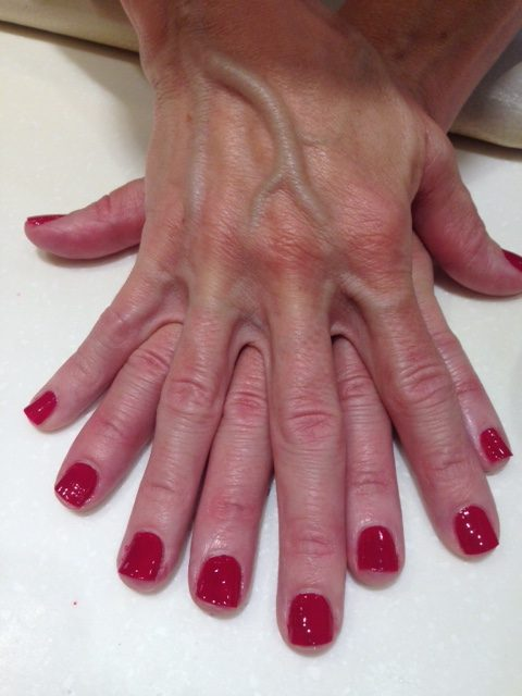 My Essie mani in Raspberry with Gel Setter top coat