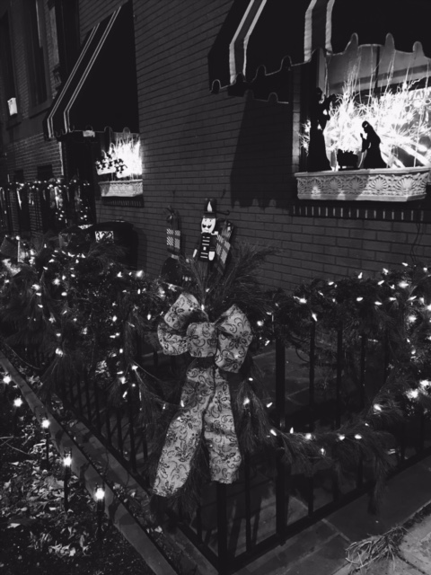 Outdoor Christmas lights look pretty in black and white!